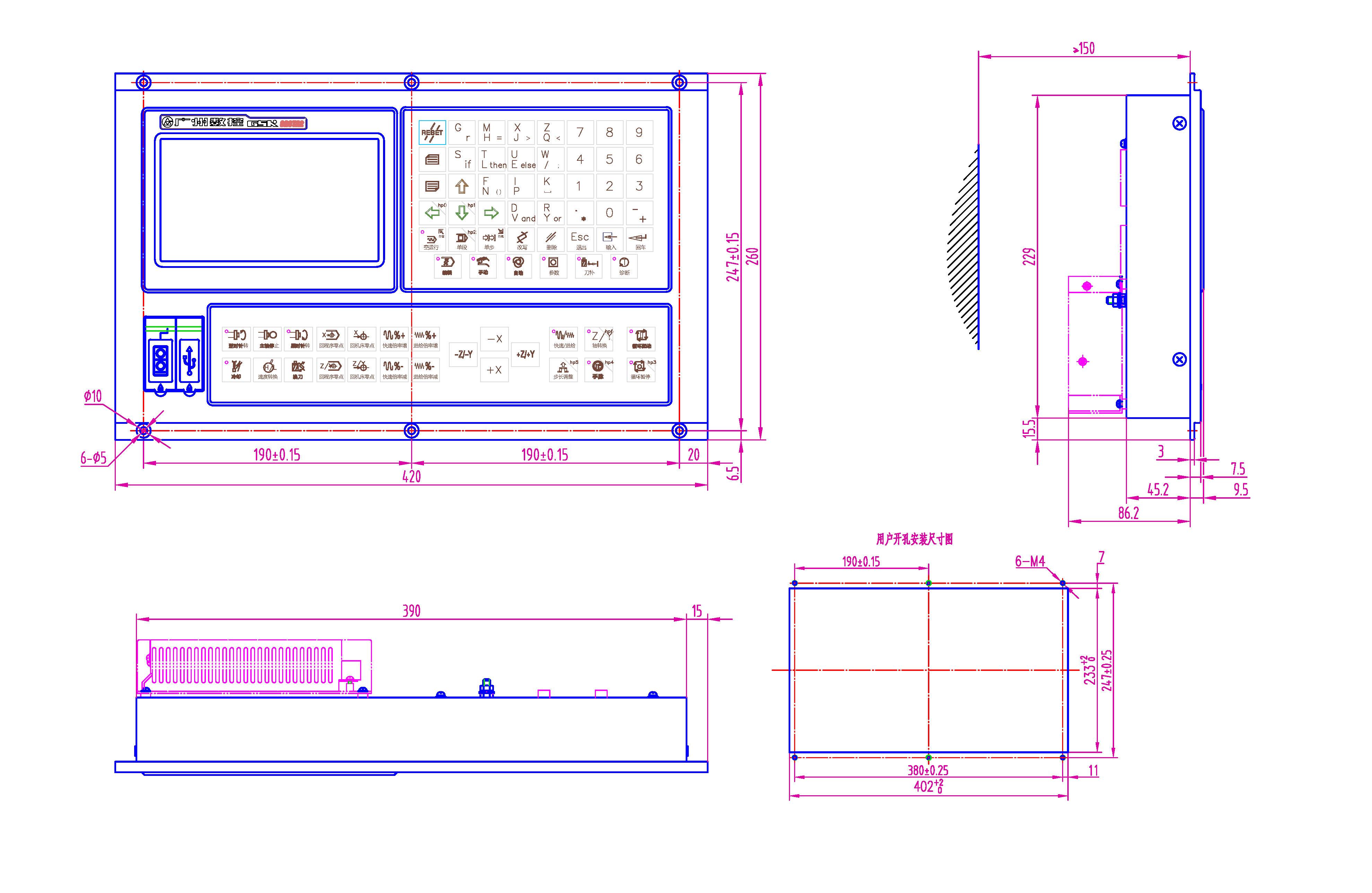适配车床: 小型号工具车床; 自动化送料车床。 独特实用的控制功能和加工功能组合 参数设置即可改装实现双头车的功能; 特殊的轨迹偏移功能组合,用于特殊易变形材料加工; 机床厂用25条自定义M指令实现特殊控制; 16按钮、8旋钮、8脚踏开关,多种模式组合操作。 用自定义M指令实现特殊控制 十分简便的自定义M指令编程方法; 用自定义M指令实现信号检测和控制,可以控制更多的装置; 急停(+M74)、复位(+M73)、驱动报警(+M72)时,可自动追加执行对应的M指令关闭某些输出信号,提升安全性和方便性。